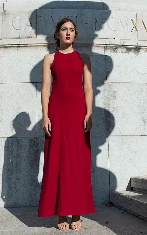 vestito da cerimonia rosso su misura bologna chiara cascioli